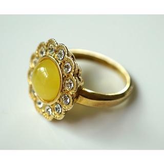 バルティック天然琥珀(アンバー)ジルコニア指輪リング 06(リング(指輪))