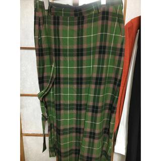 ラッドミュージシャン(LAD MUSICIAN)のLAD MUSICIAN 18aw スカート風袴チェックパンツ グリーン(スラックス)