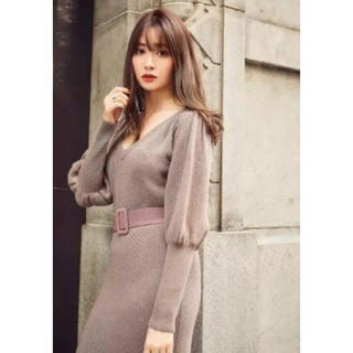 her lip to Two-Tone Belted Knit Dress