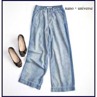 nano・universe - ナノユニバース★サイドライン ワイドデニムパンツ 36(S) ハイウエスト