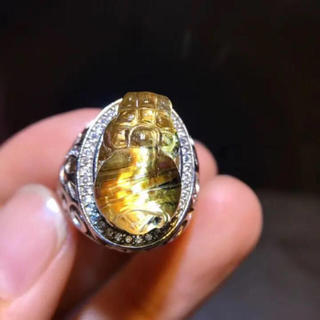 【高級】貔貅 ゴールドタイチンルチルクォーツ  リング 18.4×11.2mm(リング(指輪))