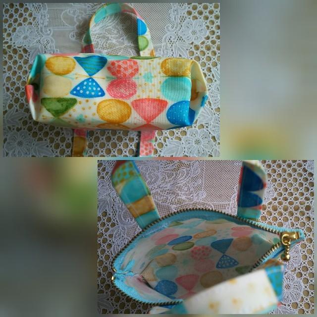 ラミネートポーチ  マチ有り&手持ち付き ハンドメイドのファッション小物(ポーチ)の商品写真