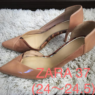 ZARA - ザラ パンプス37 ピンクベージュ 7センチヒール