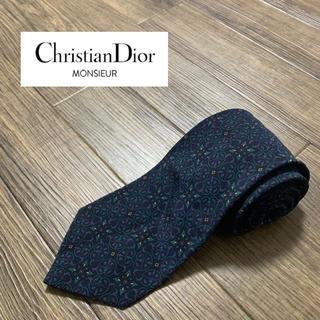 ディオール(Dior)のDior ディオール ブランド ネクタイ ネイビー 花柄 ドット 小紋 美品(ネクタイ)