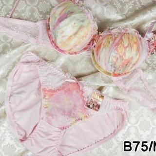 051★B75 M★美胸ブラ ショーツ Wパッド グラデーション ピンク(ブラ&ショーツセット)