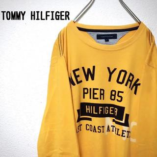 TOMMY HILFIGER - 【レア】トミーヒルフィガー tシャツ メンズ 長袖 黄色 古着 刺繍 ロゴ M