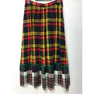 コムデギャルソン(COMME des GARCONS)のトリココムデギャルソン チェック切替プリーツスカート (ロングスカート)