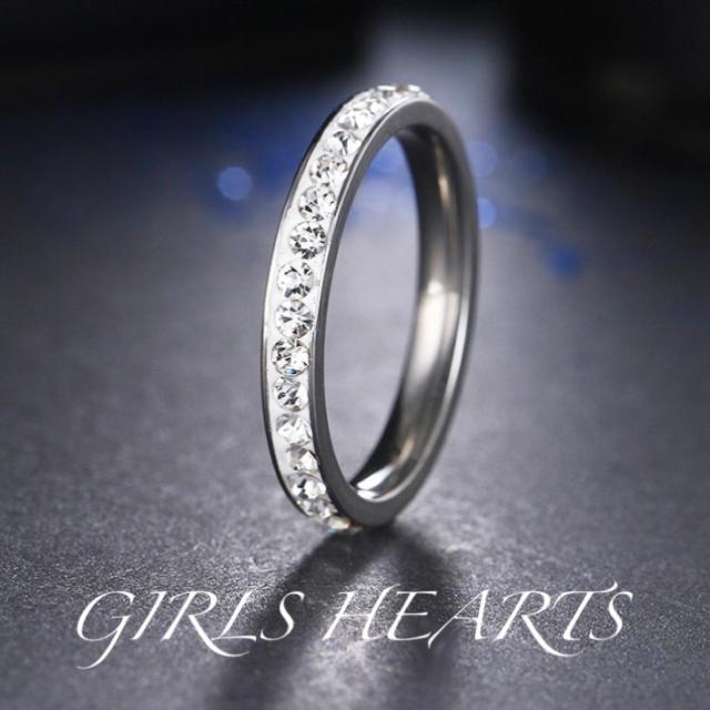 送料無料18号訳ありシルバースーパーCZダイヤステンレスフルエタニティリング指輪 メンズのアクセサリー(リング(指輪))の商品写真
