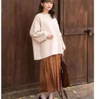しまむら - 新品タグ付 プチプラのあや シャイニープリーツスカート*ブラウンS