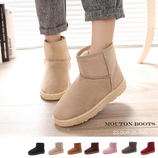 ◇ ラウンドトゥ ムートンブーツ ショートブーツ 大きいサイズ シンプル(ブーツ)