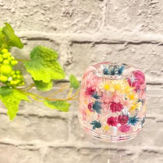 カラフル☆お花がいっぱい☆固めるハーバリウム ☆ 歯ブラシ立て ペン立て