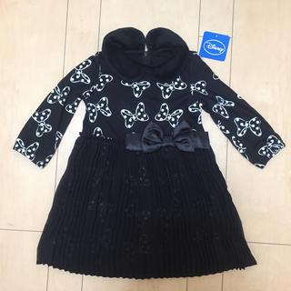 Disney - 秋冬【90】ミニー リボン柄ドッキングワンピース 黒色 フォーマル