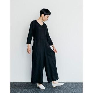 フォグリネンワーク(fog linen work)の新品◆fog linen work フォグリネンワーク ジャンプスーツ黒(オールインワン)