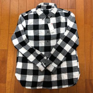UNIQLO☆新品☆メンズ ブロックチェック ネルシャツ 黒白 サイズL