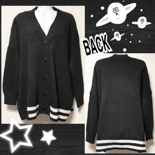 FUNKY FRUIT - 【新品】モノトーン☆裾ライン入BIGカーデ
