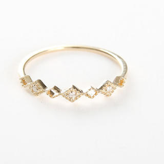 ete - K10 ダイヤモンド レイヤード リング