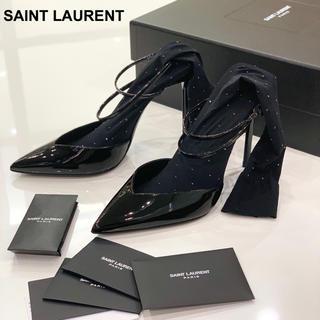 Saint Laurent - 1288 サンローラン ラインストーン ソックス付きパンプス
