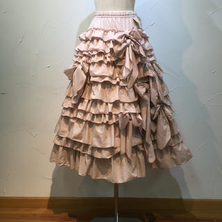 ピンクハウス(PINK HOUSE)のピンクハウス  12段ので豪華なスカートです。飾りリボンもいっぱいです❗️(ロングスカート)