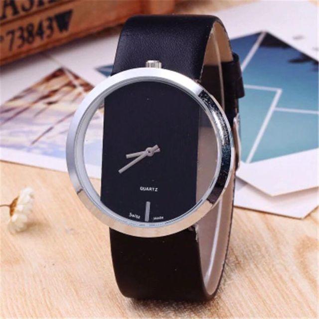 43☆シンプルイズベスト☆レディース腕時計 シースルー文字盤 ブラック 黒の通販