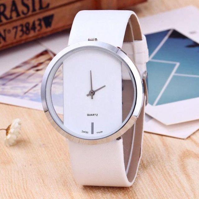 43☆シンプルイズベスト☆レディース腕時計 シースルー文字盤 ホワイト 白の通販