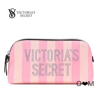 新作!Victoria's Secret ポーチ/ピンクストライプ