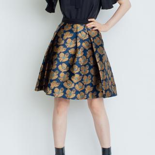 ランバンオンブルー(LANVIN en Bleu)のフラワージャガードスカート(ひざ丈スカート)