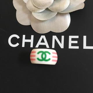 シャネル(CHANEL)の正規品 シャネル 指輪 ボーダー ココマーク 白 ロゴ ピンク ライン リング(リング(指輪))