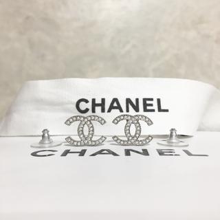 CHANEL - 正規品 シャネル ピアス スリム シルバー ココマーク ラインストーン 銀 石2