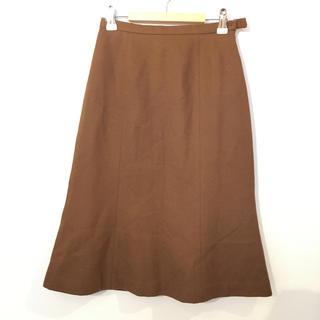 インディヴィ(INDIVI)のINDIVI 無地 ウールスカート ブラウン 日本製 #Cattleya(ひざ丈スカート)