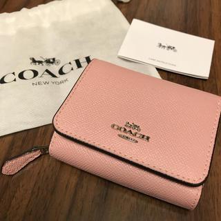 COACH - 【美品】COACH コーチ 三つ折り財布 ロゴ レザー ピンク