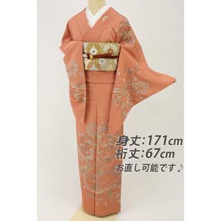 《長尺■極上汕頭刺繍■彩花々唐華模様訪問着■洗朱色◆袷正絹着物◆SM10-32》