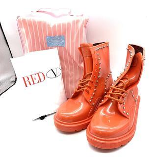 レッドヴァレンティノ(RED VALENTINO)の美品 レディース ブーツ レースアップ スタッズ サイズ36 雨 雪 赤(ブーツ)