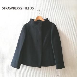 ストロベリーフィールズ(STRAWBERRY-FIELDS)の新品タグ付き ストロベリーフィールズ ウールコート 2/M 黒〜濃紺 ショートコ(その他)