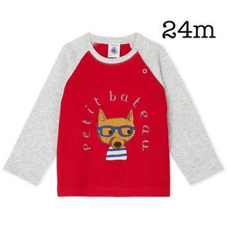 PETIT BATEAU - 新品未使用 プチバトー 24m プリントラグラン長袖Tシャツ 赤 レッド