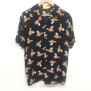 Disney - 美品 Disney ディズニー 男女兼用 ティガー 半袖 アロハシャツ L 黒