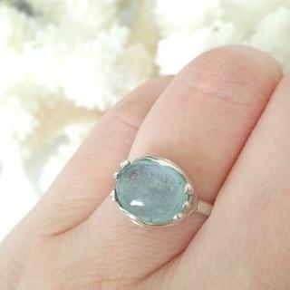 【美品】アクアマリン 指輪 silver 約11号(リング(指輪))