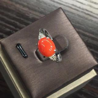 美品 セレクトジュエリー PT900リング サンゴ2.81ct ダイヤ0.10c(リング(指輪))