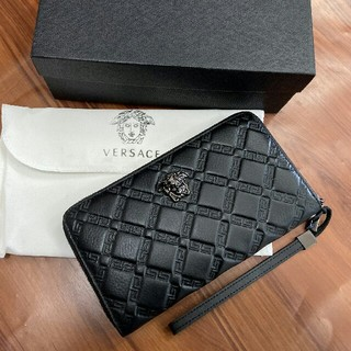 VERSACE - ヴェルサーチVersace ファスナー 財布 ブラック メンズ 正規品