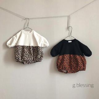 petit main - (80.90)ヒョウ柄ロンパース 韓国こども服