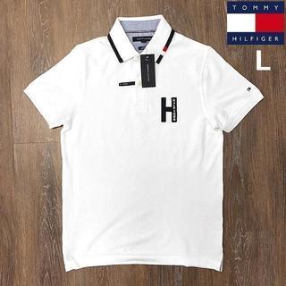 TOMMY HILFIGER - 売切!トミーヒルフィガーHロゴ フラッグロゴ ポロシャツ(L)白181228