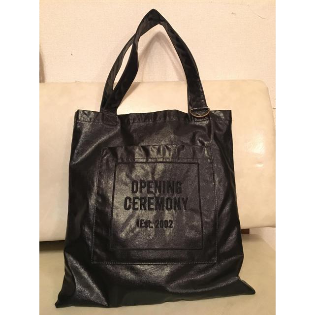 OPENING CEREMONY(オープニングセレモニー)のオープニングセレモニー♡ロゴ刺繍トートエナメル黒♡美品 レディースのバッグ(トートバッグ)の商品写真