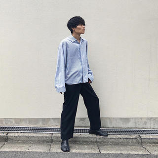 SUNSEA - THEE 18AW rhythm shirts navy stripe
