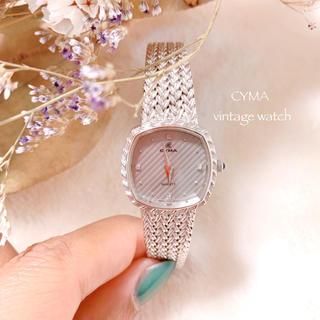 CYMA - 【CYMA】シルバースクエア腕時計 美品 稼働品 ヴィンテージ 古着