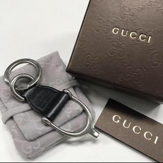 Gucci - GUCCI レザーキーリング ブラック