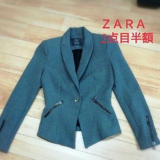 ZARA - ザラ ジッパーがかっこいい美シルエットグレージャケット 2点目半額