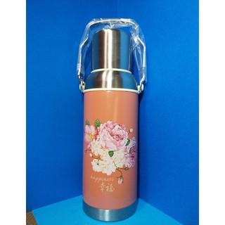 昭和レトロな花柄取っ手付ステンレス水筒600ml