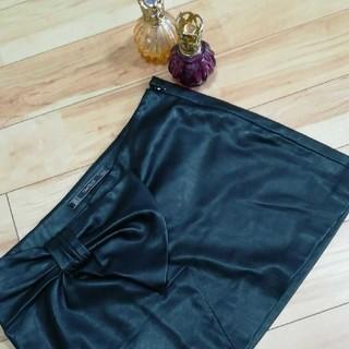 ザラ(ZARA)のザラ フェイクレザー 2点目半額柔らかBLACKスカート(ナイトドレス)