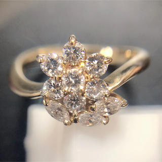 ❤️送料込☆新品同様高品質0.76ctダイヤモンドフラワーk18リング(リング(指輪))
