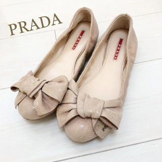 プラダ(PRADA)の美品!PRADA 24.0 ピンク ロゴ  リボン フラットシューズ (バレエシューズ)