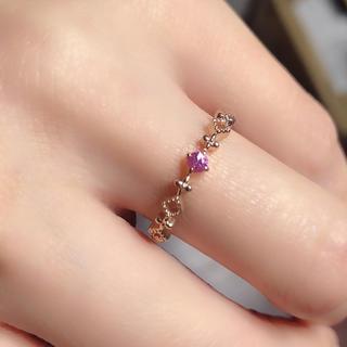 ☆新品繊細トルマリンファッションK10ピンクゴールドリング  (リング(指輪))